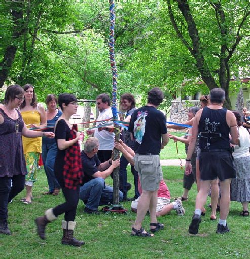 Winding the Maypole at Beltane Ritual, May 1, 2010, Asheville, North Carolina.